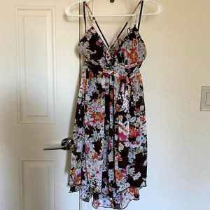 Rampage Brown Floral Spaghetti Strap Hi-Lo Dress